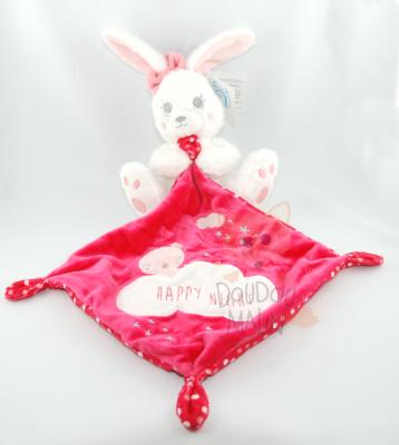 Simba toys doudou lapin mouchoir blanc rose rouge happy night étoile nuage