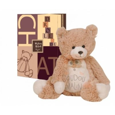 Histoire d'ours peluche doudou collection Papouill'ours chat beige blanc